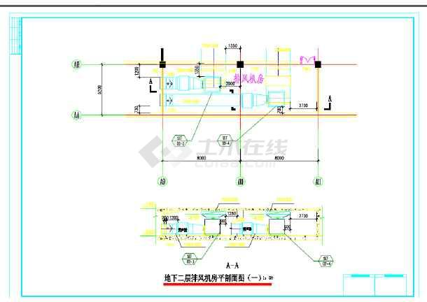 某超市地下两层排烟设计施工cad图,内容包括:地下一层通风平面图,地下南职室内设计难进吗图片