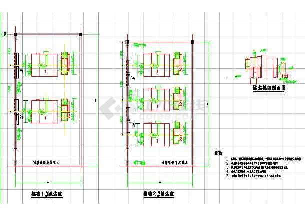 某纺织厂车间除尘空调系统cad施工图-图3
