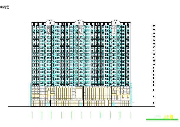 某地小型高层商住楼方案cad设计图-图2