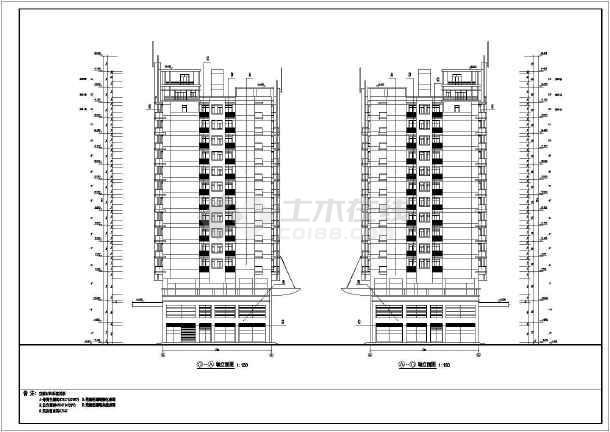 小高层14层住宅楼加底商建筑设计cad施工图纸-图1