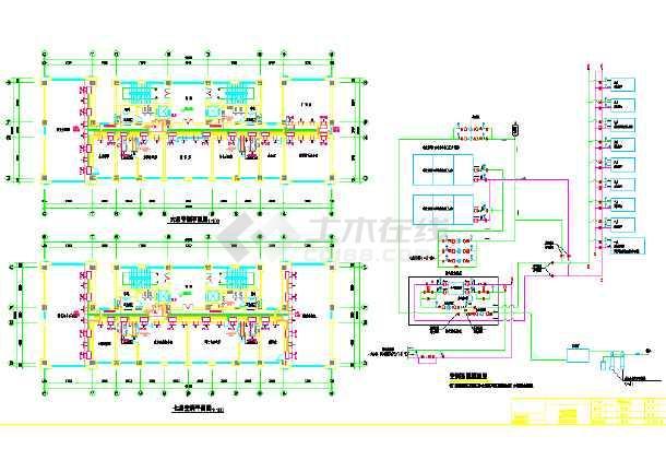 某多层办公楼空调系统设计cad施工图纸-图3