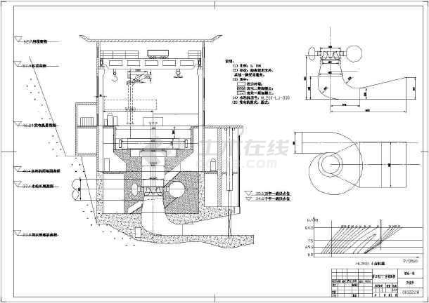 水电站水系统及剖面详细cad设计施工图-图3