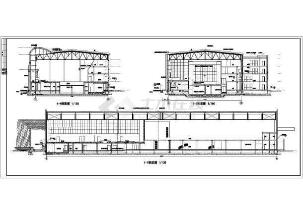 体育会所建筑施工全套方案cad设计图纸-图2