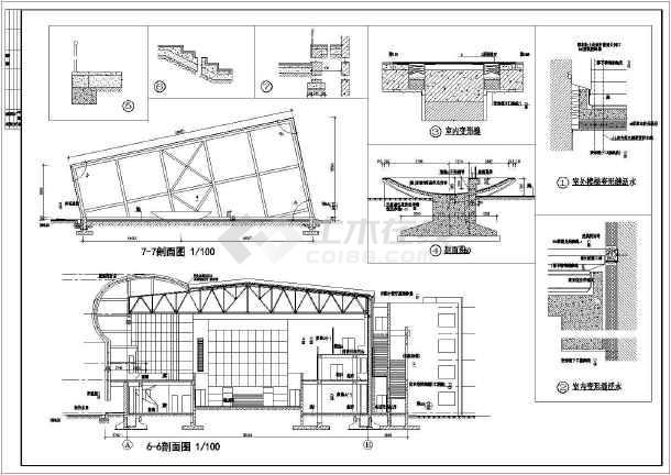 体育会所建筑施工全套方案cad设计图纸-图3