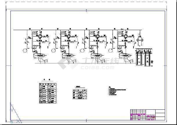 水电站水系统及剖面详细cad设计施工图-图1