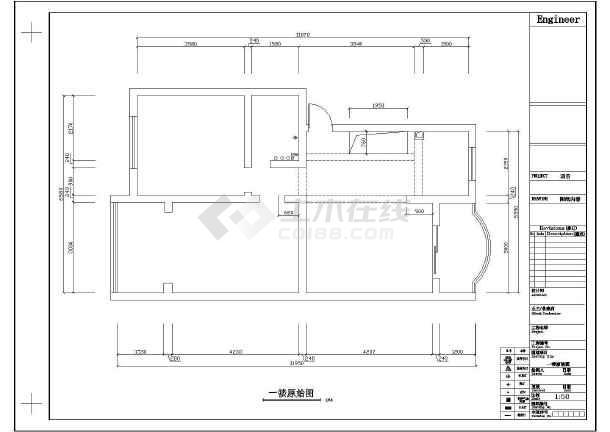 经典两居家居室内装修cad平面施工设计图纸-图1