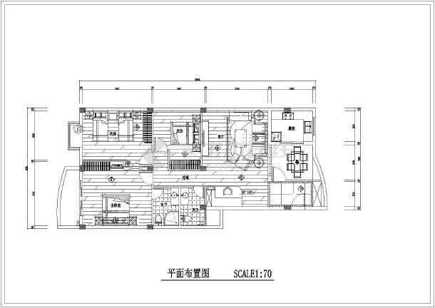 精装修两居家装cad设计施工平面图-图1
