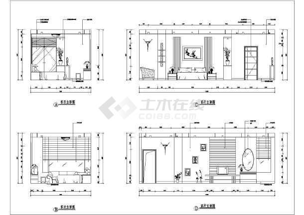 三居室大户型室内设计的cad平面图纸
