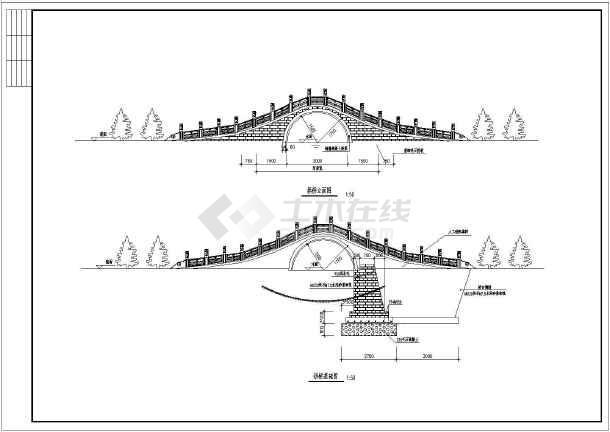 某工程景观古典石桥建筑园林CAD设计施工图-图3