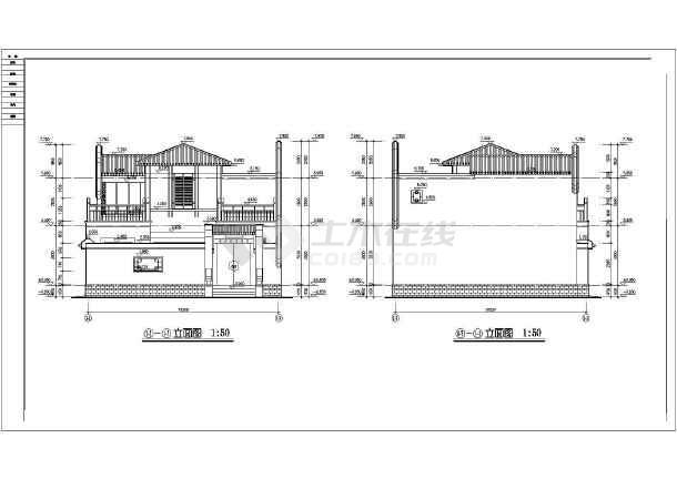 北方防古四合院别墅建筑cad设计施工图-图1