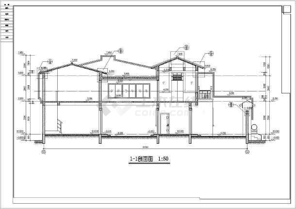 北方防古四合院别墅建筑cad设计施工图-图2