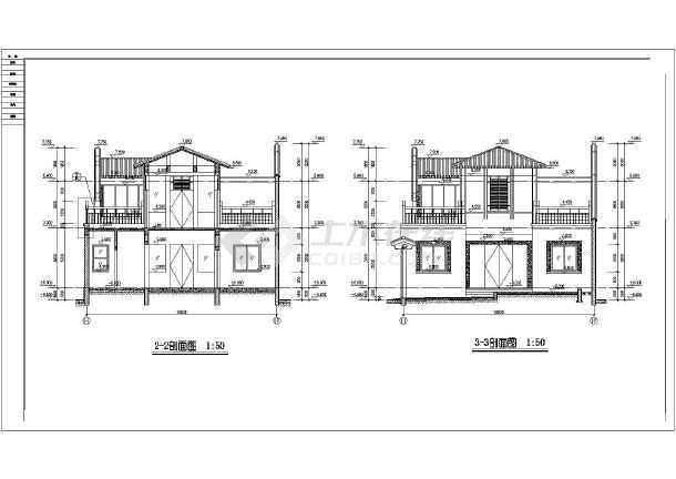 北方防古四合院别墅建筑cad设计施工图-图3