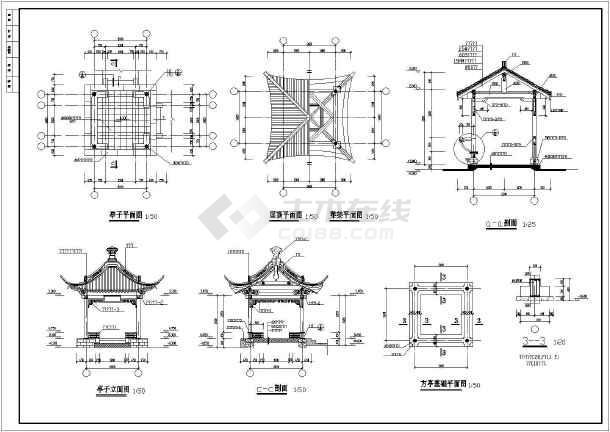 某工程景观古建长廊建筑园林cad设计施工图-图1