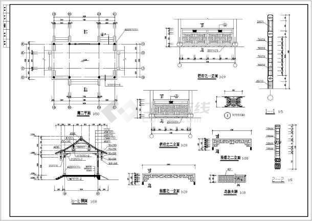 某工程景观古建长廊建筑园林cad设计施工图-图3