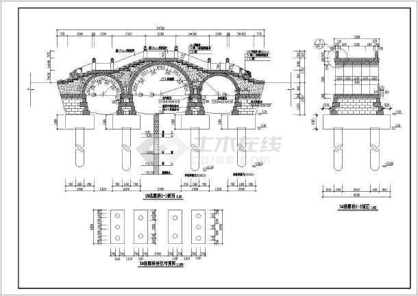 某工程景观古桥园林CAD设计施工图纸-图1