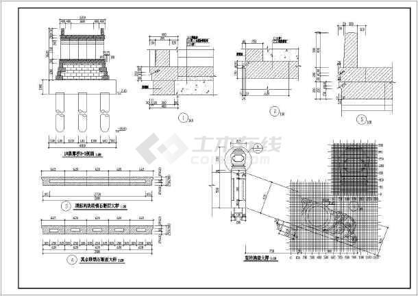 某工程景观古桥园林CAD设计施工图纸-图2