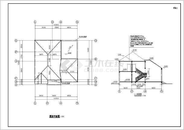 某经典小别墅全套cad施工设计图纸-图1