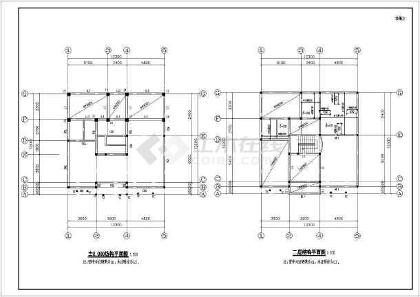 某经典小别墅全套cad施工设计图纸-图3
