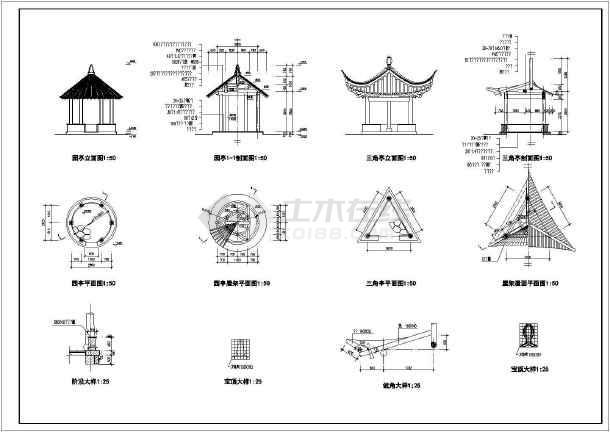 几十种古代建亭子全套园林CAD设计施工图纸-图1