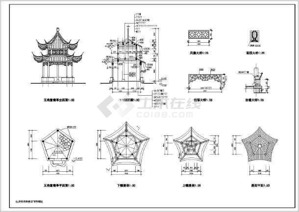 几十种古代建亭子全套园林CAD设计施工图纸-图3