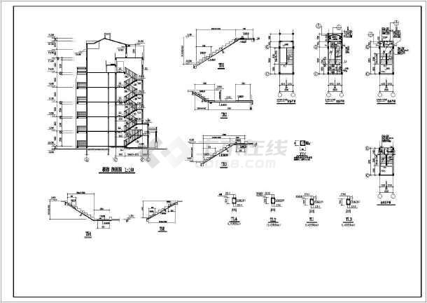 某地小型异型柱结构住宅施工图(标注详细)-图2