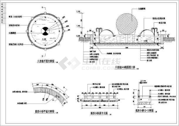 某叠泉假山及弧形小桥园林cad设计施工图-图1