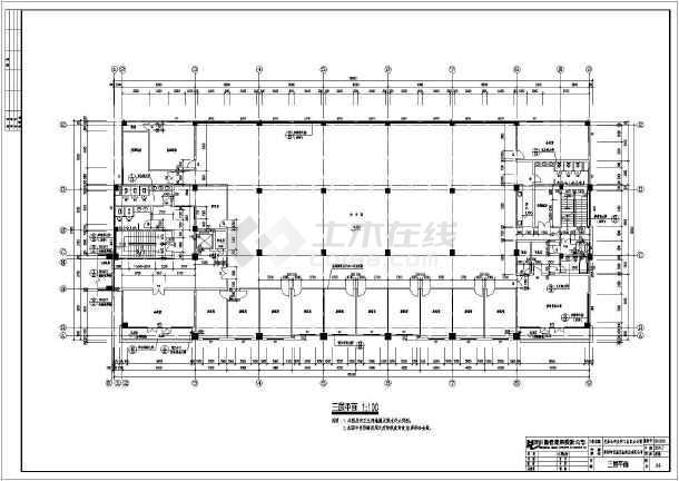 某产业公司工业区办公楼cad平立剖面施工设计图纸-图1