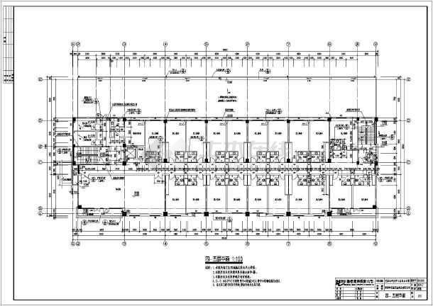 某产业公司工业区办公楼cad平立剖面施工设计图纸-图3