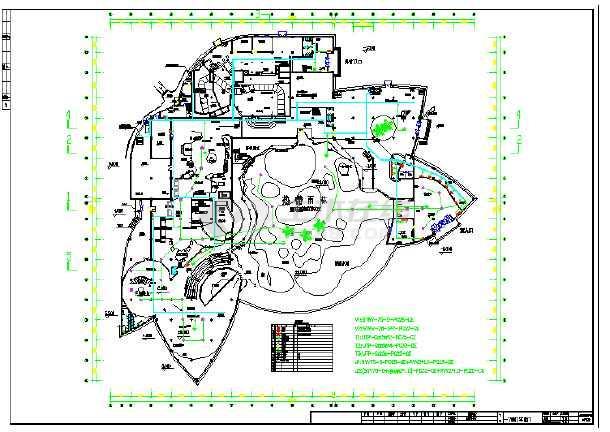 某地小型海洋馆弱电平面设计图(节点详细)