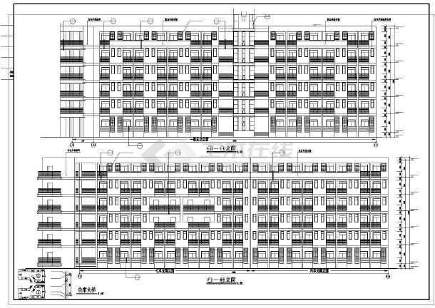 某学校学生宿舍楼建筑施工图纸(节点详细)-图1