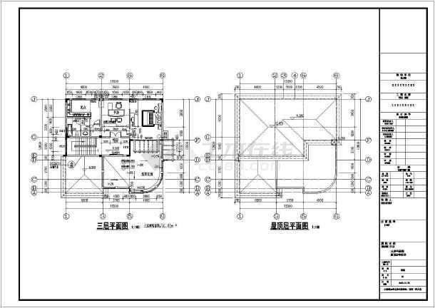 某三层独栋别墅建筑设计CAD图纸-图1