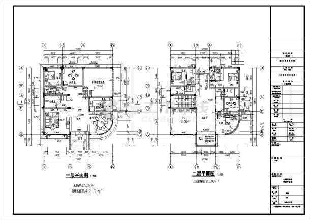 某三层独栋别墅建筑设计CAD图纸-图2