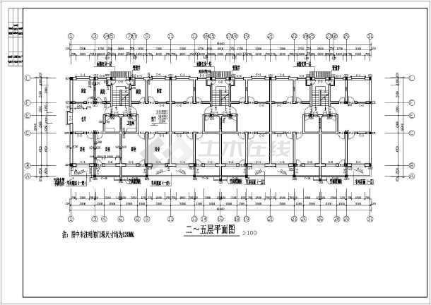 某地区大型小区六层住宅楼建筑施工设计图-图3