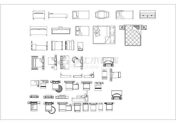 室内装修床cad家具素材平面图纸