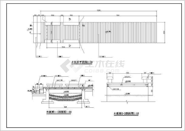 某广场景观木板桥园林cad设计施工详图-图1