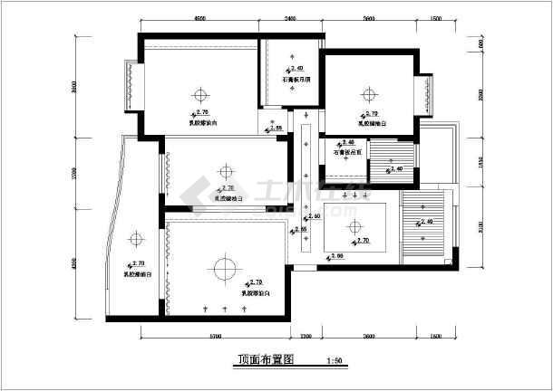 大三居室室内家装设计cad方案施工设计图-图1