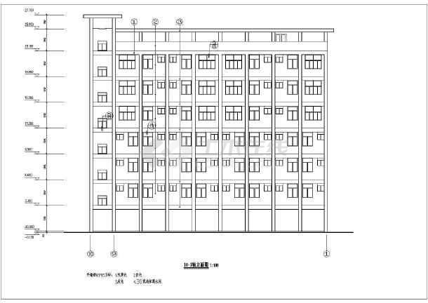 某学校教师宿舍楼cad设计方案图纸-图1