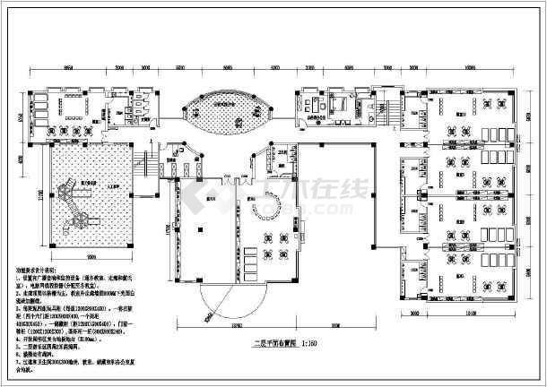 大型双语幼儿室内装修cad平面施工布置图-图1