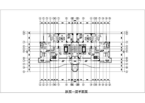 锦绣高层住宅楼cad平面施工布置图纸-图1