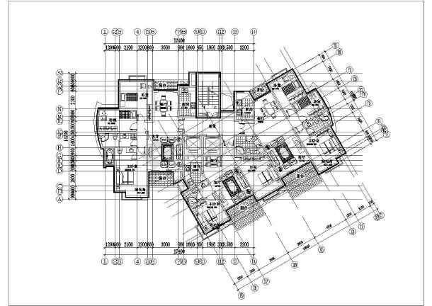 锦绣高层住宅楼cad平面施工布置图纸-图3