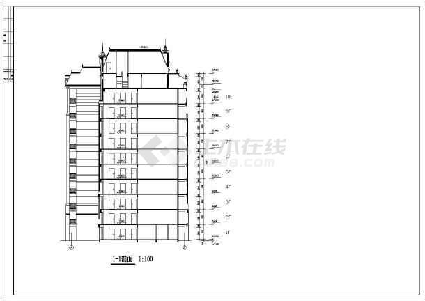 某地区幽静小高层住宅楼建筑施工图纸-图1