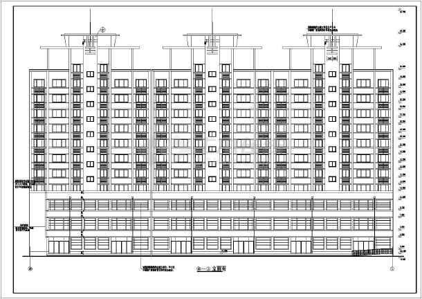 某地安置小高层建筑设计CAD施工图-图1
