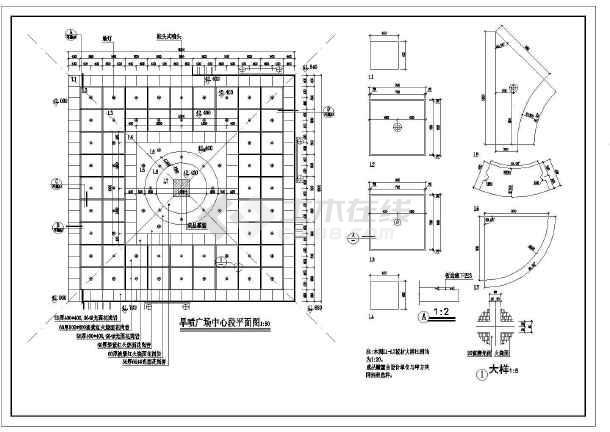 某广场公园景观旱喷园林cad设计施工图-图1