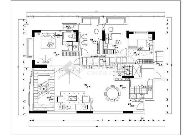 皇都苑雅居豪华装修cad全套设计施工户型图-图1