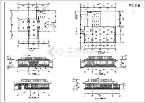 温泉浴场建筑施工全套方案cad设计图纸-图1