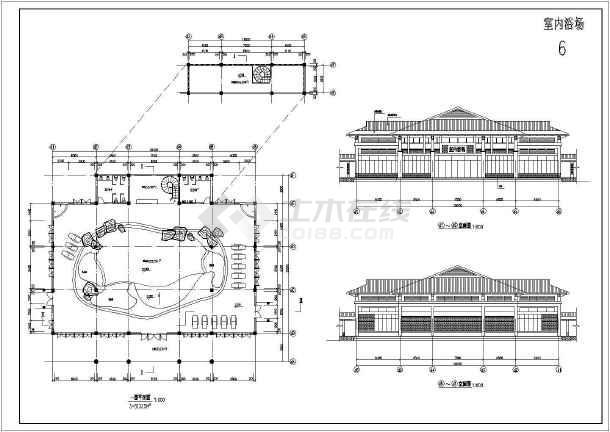 温泉浴场建筑施工全套方案cad设计图纸-图3