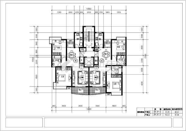 经典高层住宅楼cad平面施工设计图纸-图1