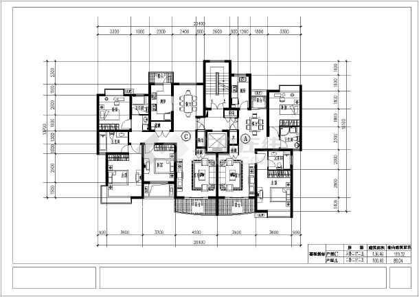 经典高层住宅楼cad平面施工设计图纸-图2