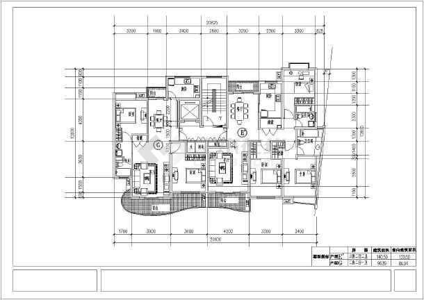 经典高层住宅楼cad平面施工设计图纸-图3