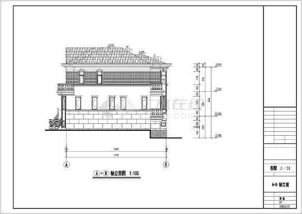 某单家独院式多层别墅建筑设计图纸-图2